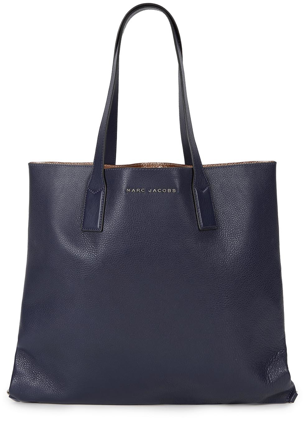 Wingman Navy Grained Leather Tote - predominant colour: navy; occasions: casual, creative work; type of pattern: standard; style: tote; length: handle; size: oversized; material: leather; pattern: plain; finish: plain; season: s/s 2016; wardrobe: investment