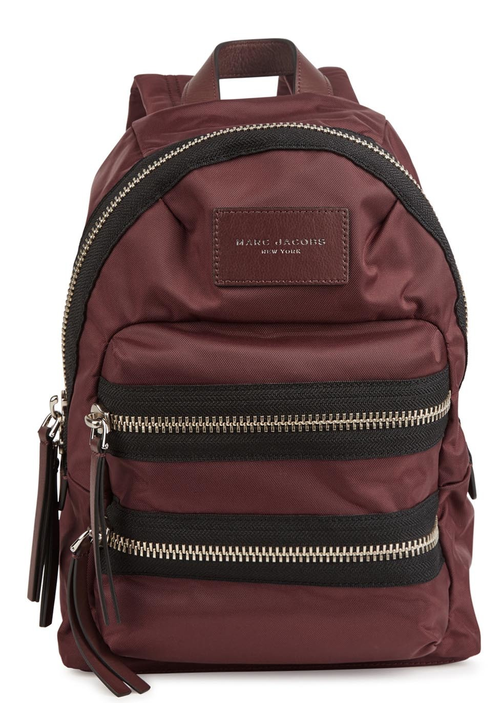 Mini Burgundy Woven Backpack - predominant colour: burgundy; occasions: casual, holiday; type of pattern: standard; style: rucksack; length: rucksack; size: standard; material: fabric; embellishment: zips; pattern: plain; finish: plain; season: s/s 2016; wardrobe: highlight