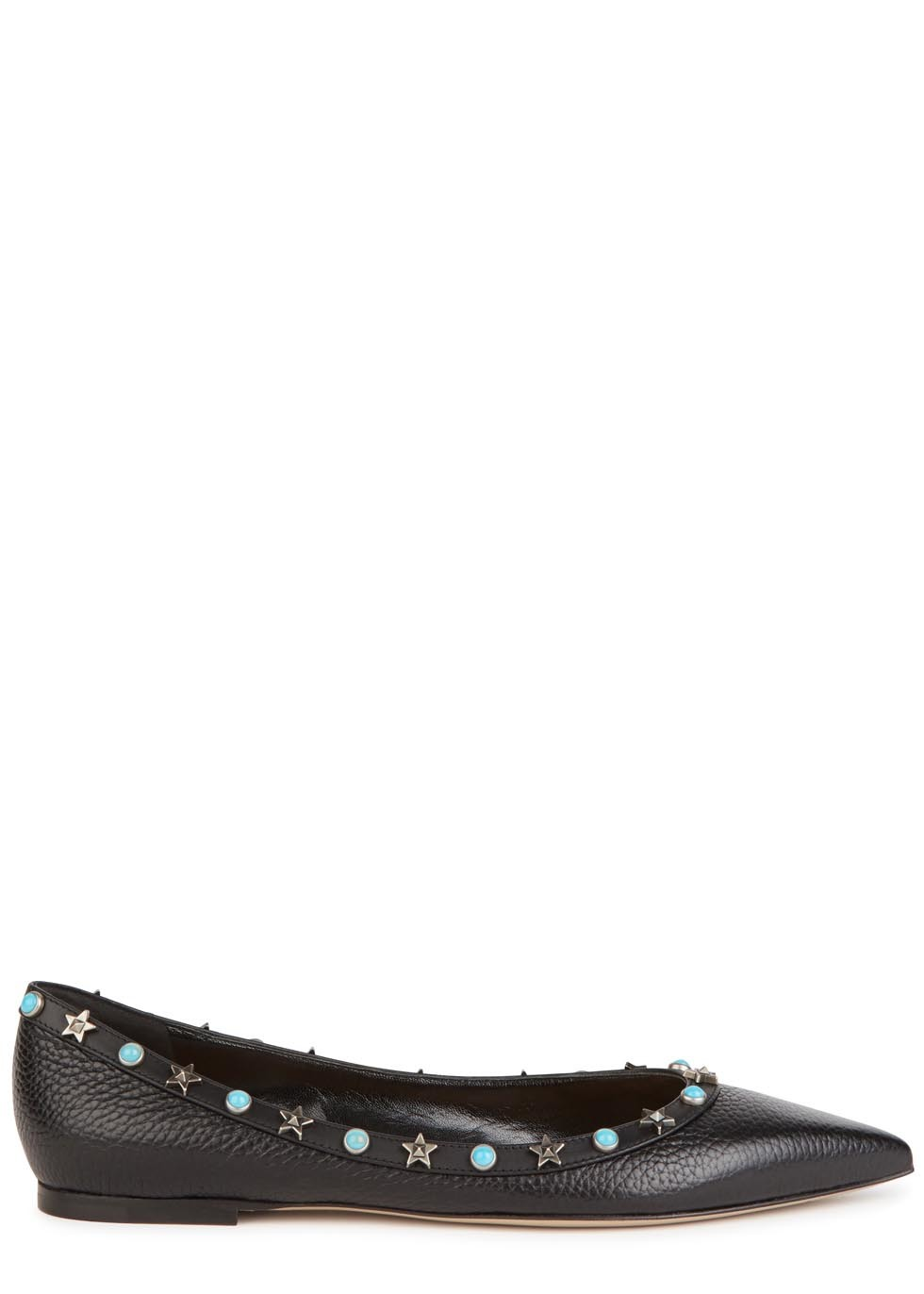 Rockstud Star Black Leather Flats - predominant colour: black; occasions: casual, creative work; material: leather; heel height: flat; embellishment: studs; toe: pointed toe; style: ballerinas / pumps; finish: plain; pattern: plain; season: s/s 2016; wardrobe: basic