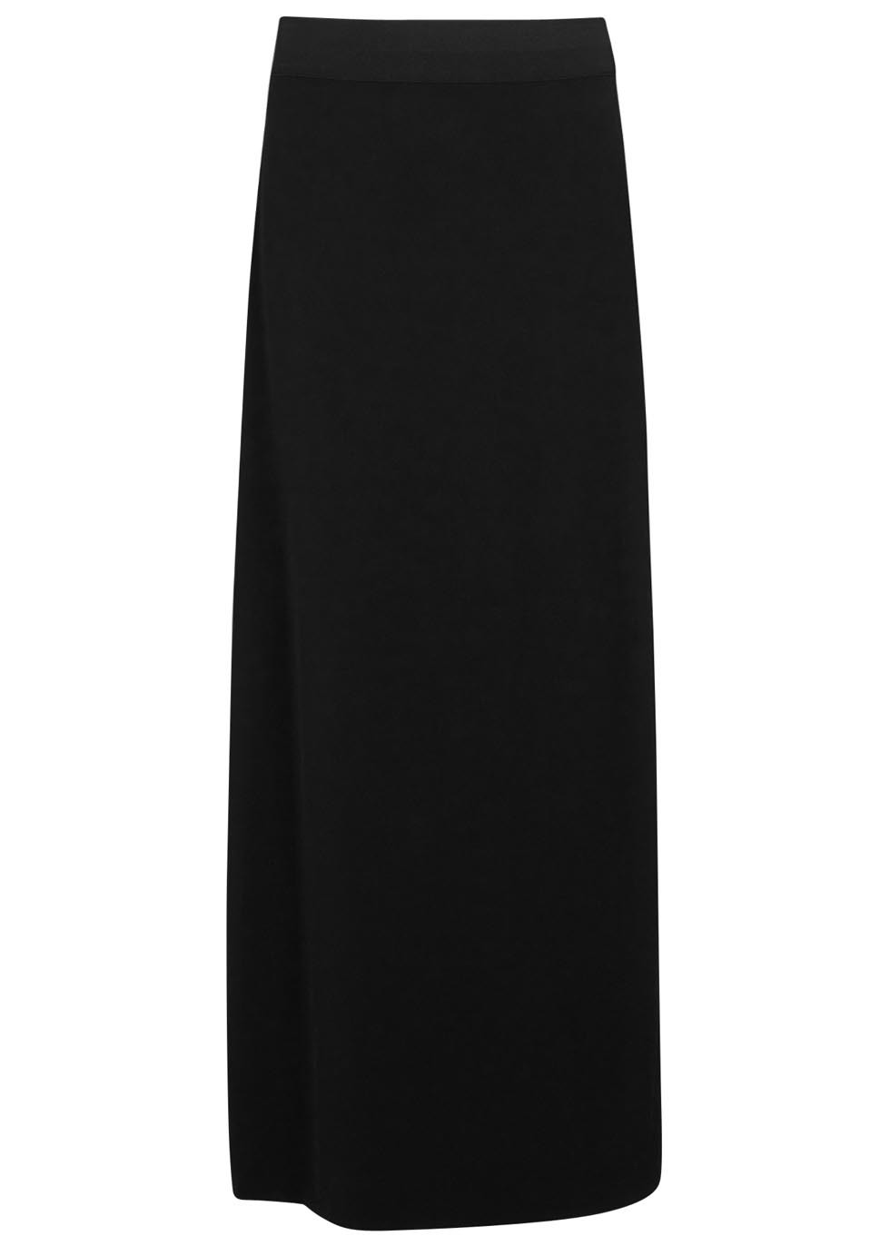 Black Wrap Effect Crepe Maxi Skirt - pattern: plain; style: wrap/faux wrap; length: ankle length; fit: body skimming; waist: mid/regular rise; predominant colour: black; occasions: casual; texture group: crepes; pattern type: fabric; fibres: viscose/rayon - mix; season: s/s 2016; wardrobe: basic