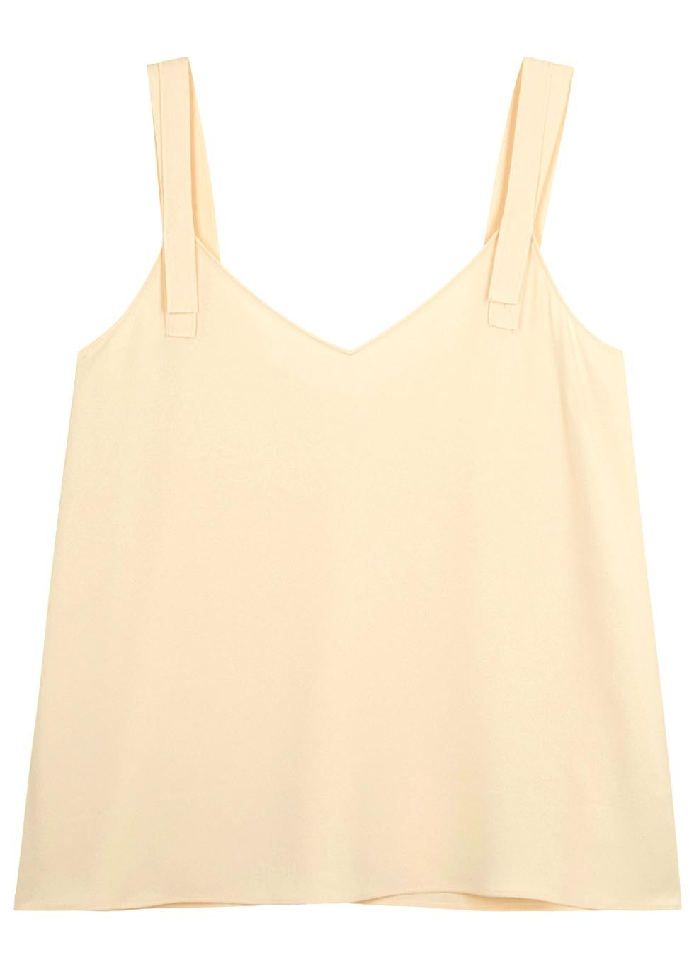 Cream Crepe Top - neckline: low v-neck; sleeve style: standard vest straps/shoulder straps; pattern: plain; predominant colour: nude; occasions: casual, holiday; length: standard; style: top; fit: body skimming; sleeve length: sleeveless; texture group: crepes; pattern type: fabric; fibres: viscose/rayon - mix; season: s/s 2016; wardrobe: basic