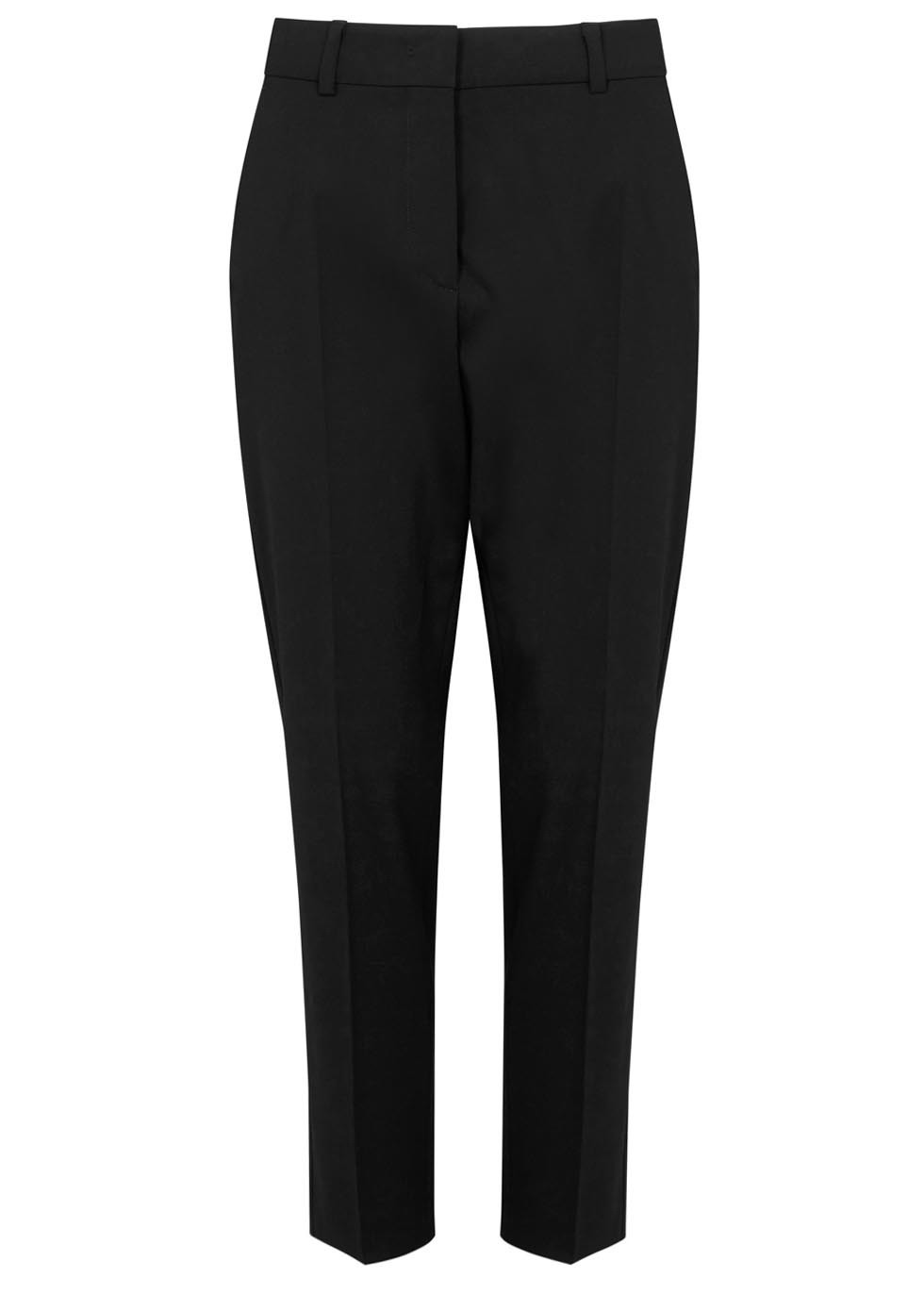 Black Cropped Stretch Wool Trousers - length: standard; pattern: plain; style: peg leg; waist: mid/regular rise; predominant colour: black; occasions: work, creative work; fibres: wool - stretch; fit: tapered; pattern type: fabric; texture group: woven light midweight; season: s/s 2016