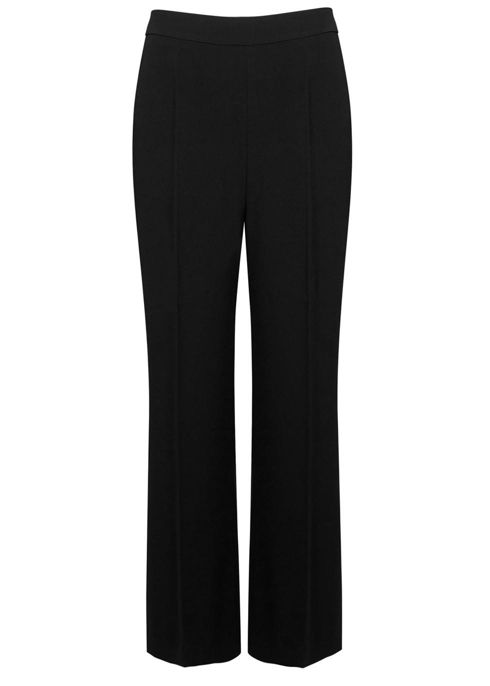 Black Wide Leg Crepe Trousers - length: standard; pattern: plain; waist: mid/regular rise; predominant colour: black; fibres: viscose/rayon - stretch; texture group: crepes; fit: straight leg; pattern type: fabric; style: standard; occasions: creative work; season: s/s 2016; wardrobe: basic