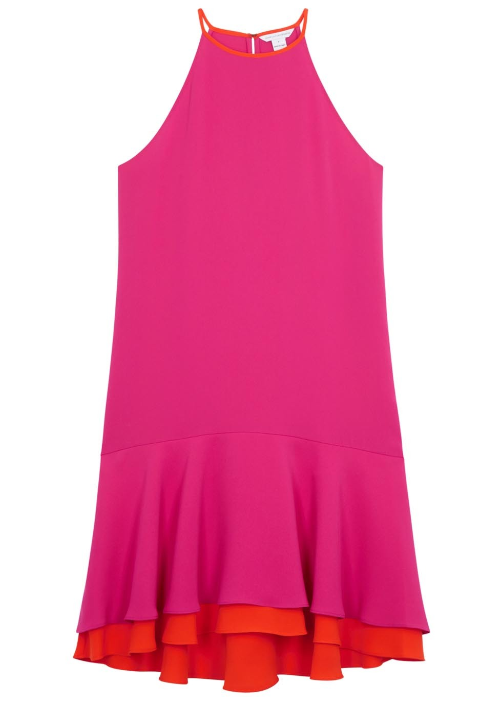 Kera Pink Layered Crepe Dress - style: shift; pattern: plain; sleeve style: sleeveless; predominant colour: hot pink; secondary colour: bright orange; occasions: evening; length: just above the knee; fit: body skimming; fibres: polyester/polyamide - mix; neckline: crew; hip detail: adds bulk at the hips; sleeve length: sleeveless; texture group: crepes; pattern type: fabric; multicoloured: multicoloured; season: s/s 2016; wardrobe: event