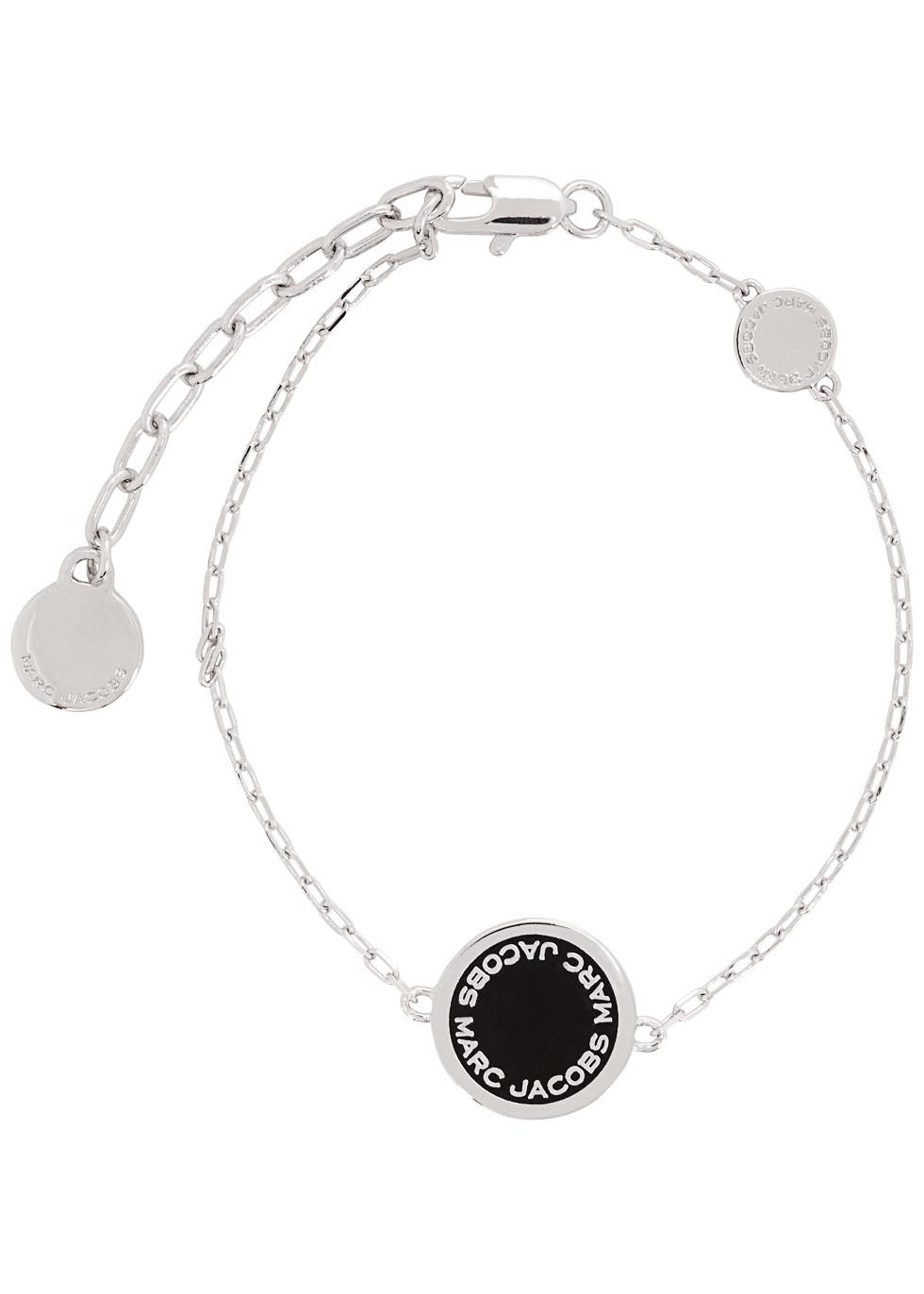 Logo Disc Silver Tone Bracelet - predominant colour: silver; secondary colour: black; occasions: casual, work, creative work; style: chain; size: standard; material: chain/metal; finish: plain; embellishment: chain/metal; season: s/s 2016; wardrobe: basic