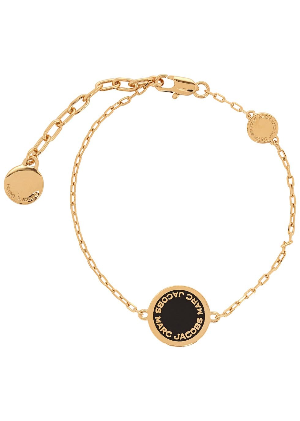 Logo Disc Gold Tone Bracelet - predominant colour: gold; secondary colour: black; occasions: casual, work, creative work; style: chain; size: standard; material: chain/metal; finish: metallic; season: s/s 2016; wardrobe: basic
