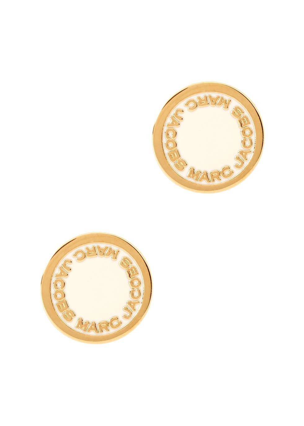 Logo Disc Gold Tone Earrings - secondary colour: ivory/cream; predominant colour: gold; occasions: casual, creative work; style: stud; length: short; size: small/fine; material: chain/metal; fastening: pierced; finish: metallic; season: s/s 2016; wardrobe: basic