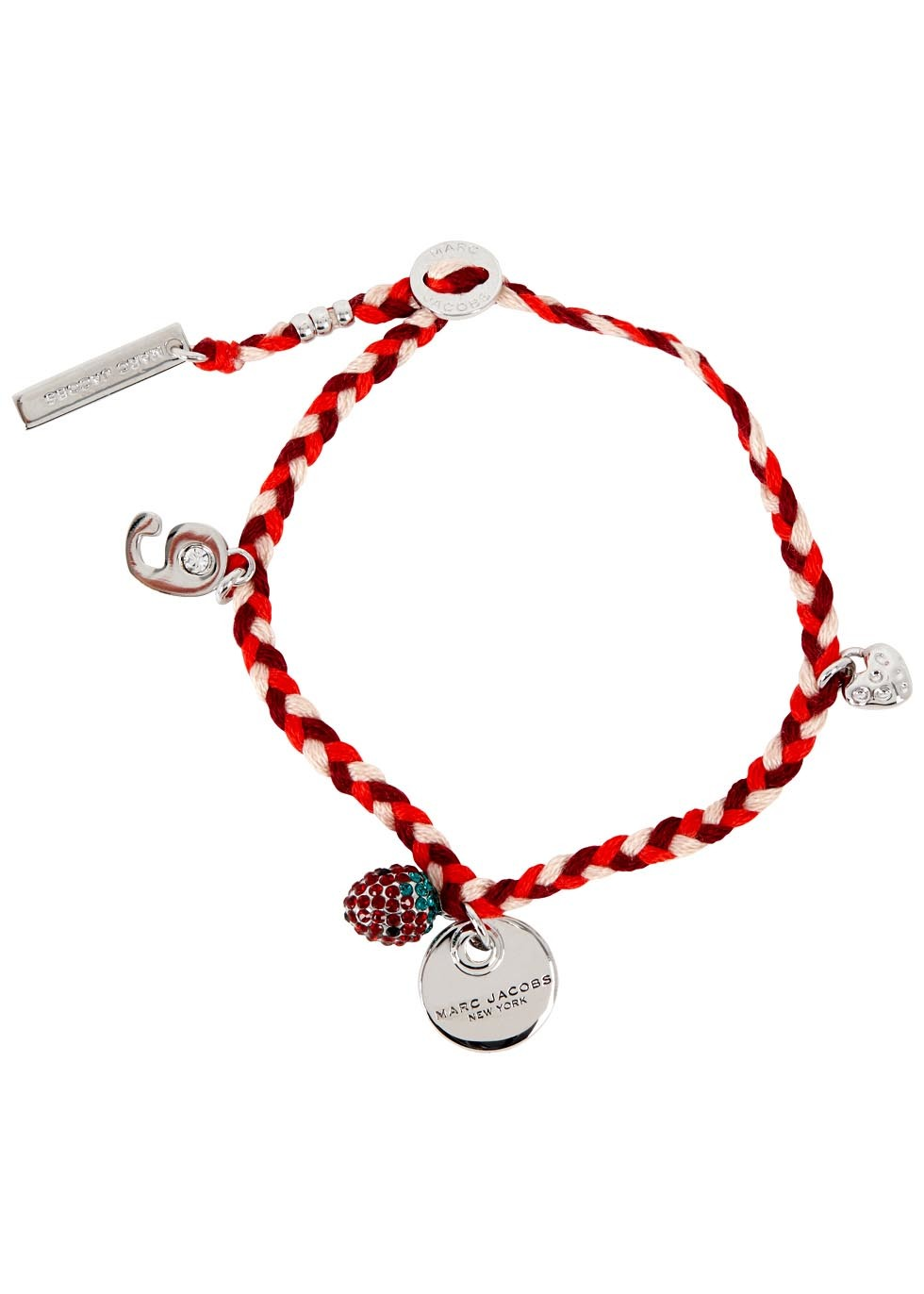 Crystal Embellished Braided Bracelet - secondary colour: true red; predominant colour: silver; occasions: casual, creative work; style: charm; size: standard; material: fabric/cotton; finish: plain; embellishment: chain/metal; season: s/s 2016; wardrobe: highlight