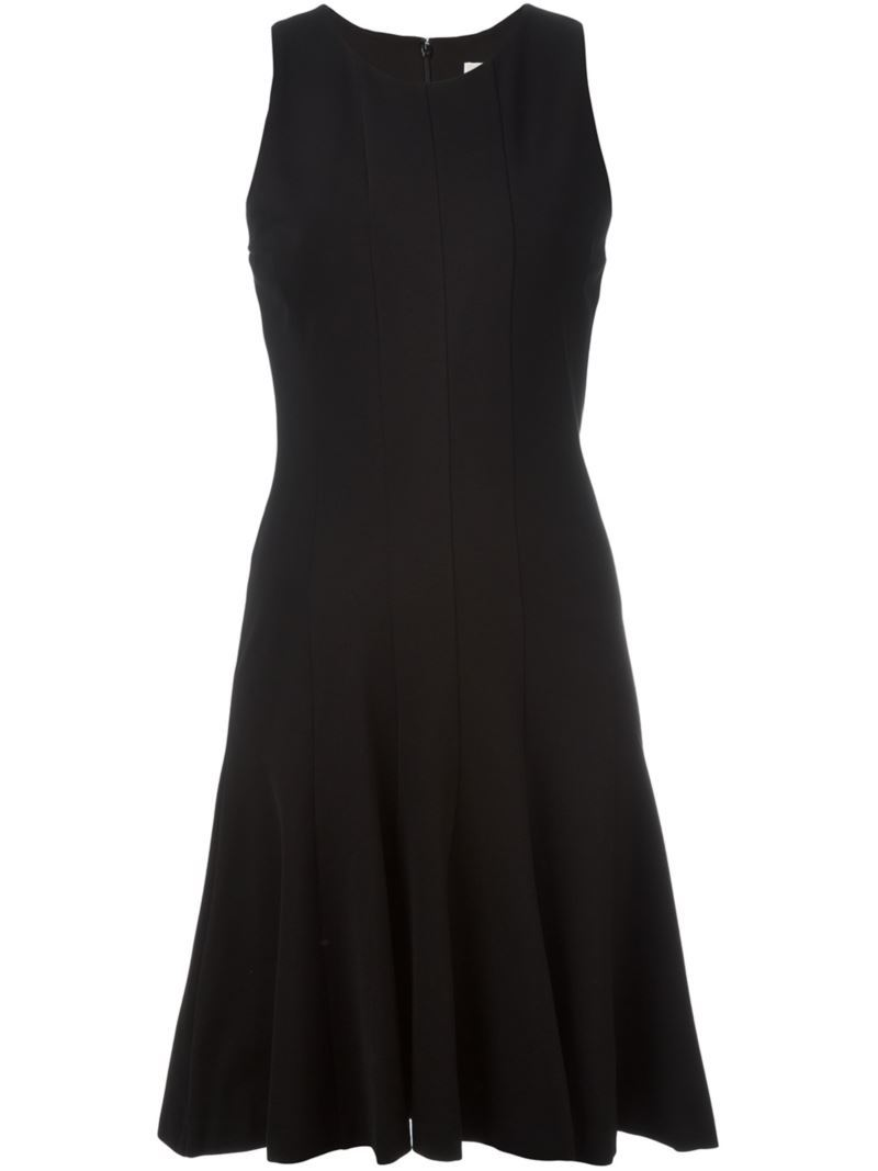 Sleeveless Flared Dress, Women's, Black - pattern: plain; sleeve style: sleeveless; predominant colour: black; occasions: evening; length: on the knee; fit: fitted at waist & bust; style: fit & flare; fibres: viscose/rayon - 100%; neckline: crew; sleeve length: sleeveless; pattern type: fabric; texture group: jersey - stretchy/drapey; season: s/s 2016