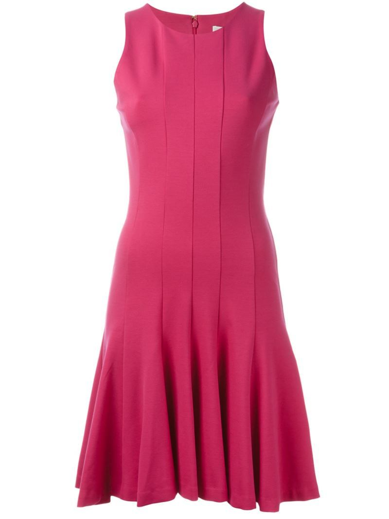 Sleeveless Flared Dress, Women's, Pink/Purple - pattern: plain; sleeve style: sleeveless; occasions: evening; length: on the knee; fit: fitted at waist & bust; style: fit & flare; fibres: viscose/rayon - stretch; neckline: crew; sleeve length: sleeveless; pattern type: fabric; texture group: jersey - stretchy/drapey; predominant colour: raspberry; season: s/s 2016; wardrobe: event