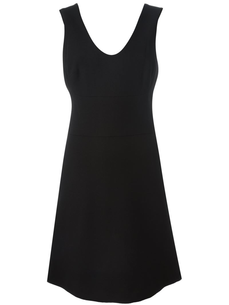 A Line Dress, Women's, Black - neckline: v-neck; pattern: plain; sleeve style: sleeveless; style: vest; predominant colour: black; occasions: evening; length: just above the knee; fit: body skimming; fibres: cotton - 100%; sleeve length: sleeveless; pattern type: fabric; texture group: jersey - stretchy/drapey; season: s/s 2016; wardrobe: event
