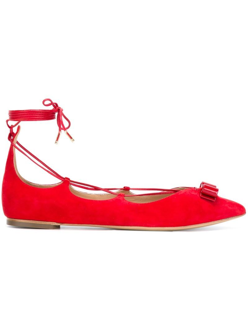 'claire' Ballerinas, Women's, Red - predominant colour: true red; material: suede; heel height: flat; ankle detail: ankle tie; toe: pointed toe; style: ballerinas / pumps; finish: plain; pattern: plain; occasions: creative work; season: s/s 2016; wardrobe: highlight