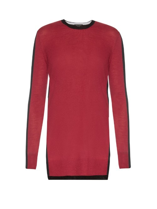 Verity Bi Colour Cashmere Sweater - length: below the bottom; style: standard; secondary colour: black; occasions: casual, creative work; fit: standard fit; neckline: crew; fibres: cashmere - 100%; sleeve length: long sleeve; sleeve style: standard; texture group: knits/crochet; pattern type: knitted - fine stitch; pattern size: standard; pattern: colourblock; predominant colour: raspberry; multicoloured: multicoloured; season: s/s 2016; wardrobe: highlight