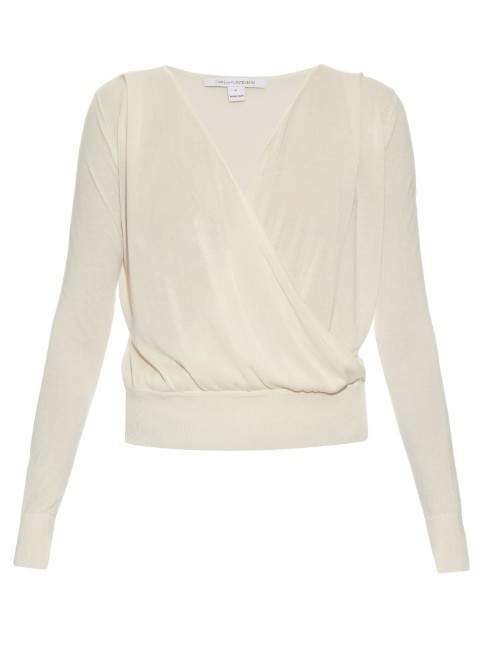 Paz Sweater - neckline: v-neck; pattern: plain; style: faux wrap/wrap; predominant colour: ivory/cream; occasions: evening; length: standard; fibres: cotton - mix; fit: standard fit; sleeve length: long sleeve; sleeve style: standard; pattern type: fabric; texture group: jersey - stretchy/drapey; season: s/s 2016; wardrobe: event