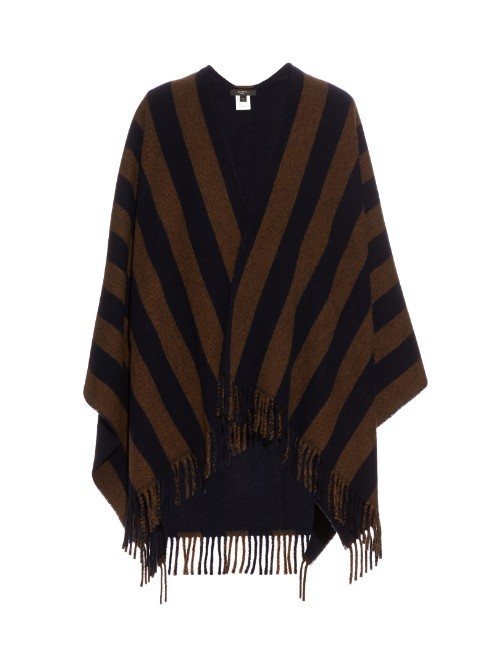 Giunto Reversible Poncho - neckline: shawl; pattern: striped; length: below the bottom; secondary colour: tan; predominant colour: black; occasions: casual, creative work; style: cape style; fibres: wool - mix; fit: loose; sleeve length: 3/4 length; texture group: knits/crochet; pattern type: knitted - other; pattern size: standard; embellishment: fringing; sleeve style: cape/poncho sleeve; multicoloured: multicoloured; season: s/s 2016; wardrobe: highlight