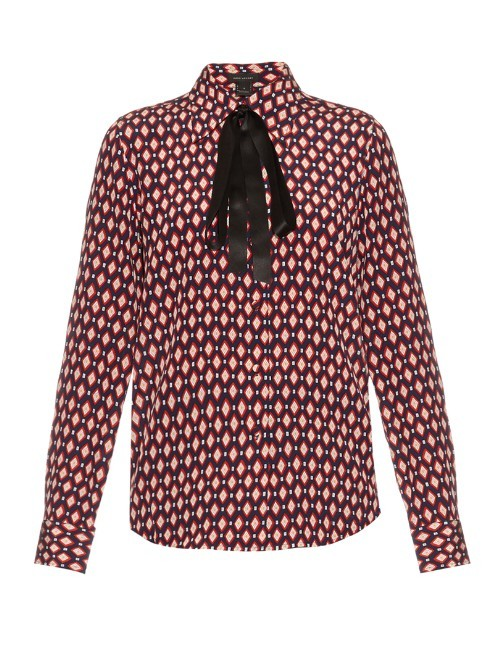 Diamond Print Crepe De Chine Shirt - neckline: pussy bow; style: blouse; secondary colour: pink; predominant colour: black; occasions: evening; length: standard; fibres: silk - 100%; fit: body skimming; sleeve length: long sleeve; sleeve style: standard; pattern type: fabric; pattern: patterned/print; texture group: woven light midweight; multicoloured: multicoloured; season: s/s 2016; wardrobe: event