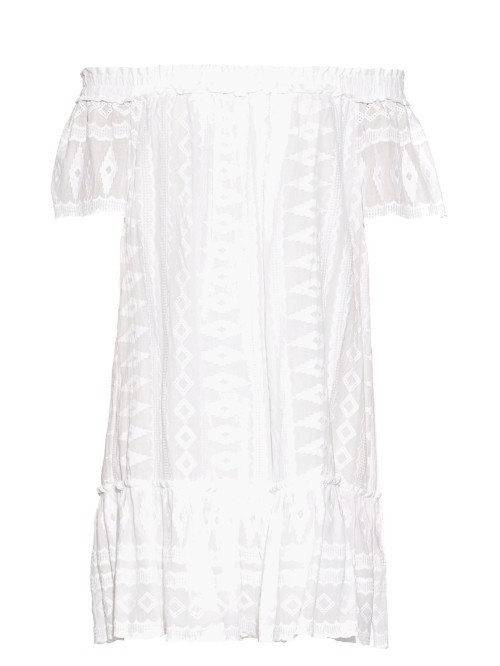 Off The Shoulder Embroidered Cotton Dress - neckline: off the shoulder; pattern: plain; style: sundress; predominant colour: white; occasions: casual; length: just above the knee; fit: body skimming; fibres: cotton - 100%; sleeve length: short sleeve; sleeve style: standard; pattern type: fabric; texture group: woven light midweight; embellishment: embroidered; season: s/s 2016; wardrobe: highlight