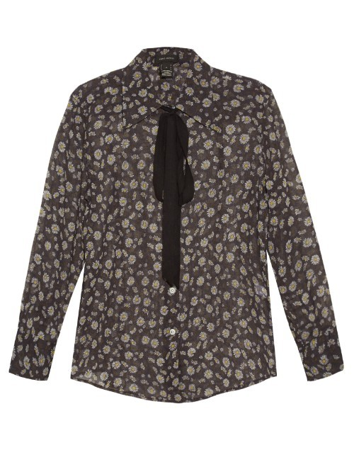 Daisy Print Cotton Voile Shirt - style: shirt; neckline: pussy bow; secondary colour: ivory/cream; predominant colour: charcoal; occasions: evening; length: standard; fibres: cotton - 100%; fit: body skimming; sleeve length: long sleeve; sleeve style: standard; pattern type: fabric; pattern size: light/subtle; pattern: florals; texture group: woven light midweight; multicoloured: multicoloured; season: s/s 2016; wardrobe: event