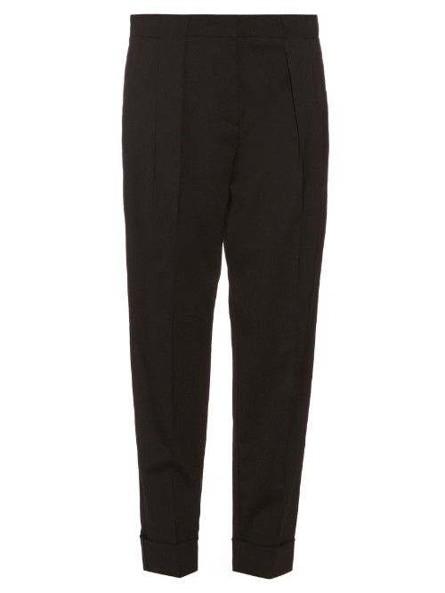 Papilla Trousers - length: standard; pattern: plain; style: peg leg; waist: mid/regular rise; predominant colour: black; occasions: work, creative work; fibres: wool - mix; fit: tapered; pattern type: fabric; texture group: other - light to midweight; season: s/s 2016