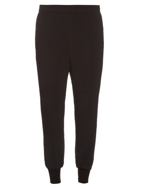 Julia Crepe Trousers - length: standard; pattern: plain; style: harem/slouch; waist: mid/regular rise; predominant colour: black; fibres: viscose/rayon - stretch; texture group: crepes; fit: baggy; pattern type: fabric; occasions: creative work; season: s/s 2016; wardrobe: highlight
