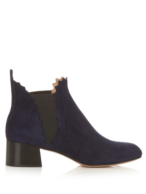 Lauren Scallop Edged Suede Ankle Boots - predominant colour: navy; occasions: casual; material: suede; heel height: mid; heel: block; toe: round toe; boot length: ankle boot; style: standard; finish: plain; pattern: plain; season: s/s 2016; wardrobe: basic