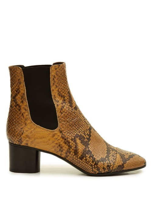 Danae Snake Effect Leather Chelsea Boots - predominant colour: tan; secondary colour: black; occasions: casual, creative work; material: leather; heel height: mid; heel: block; toe: round toe; boot length: ankle boot; finish: plain; pattern: animal print; style: chelsea; season: s/s 2016; wardrobe: highlight