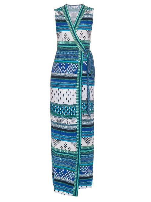 Yahzi Dress - neckline: v-neck; sleeve style: sleeveless; style: maxi dress; length: ankle length; waist detail: belted waist/tie at waist/drawstring; predominant colour: diva blue; secondary colour: mint green; occasions: evening; fit: body skimming; fibres: viscose/rayon - 100%; sleeve length: sleeveless; pattern type: fabric; pattern: patterned/print; texture group: jersey - stretchy/drapey; multicoloured: multicoloured; season: s/s 2016; wardrobe: event