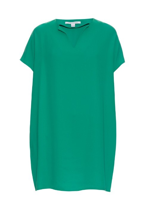 Kora Dress - style: tunic; length: mid thigh; neckline: v-neck; fit: loose; pattern: plain; predominant colour: emerald green; occasions: casual; sleeve length: short sleeve; sleeve style: standard; pattern type: fabric; texture group: woven light midweight; fibres: viscose/rayon - mix; season: s/s 2016; wardrobe: highlight
