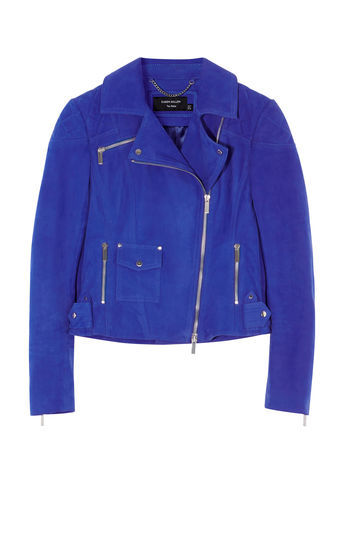 Cobalt Blue Suede Biker Jacket - pattern: plain; style: biker; collar: asymmetric biker; fit: slim fit; predominant colour: royal blue; occasions: casual, creative work; length: standard; fibres: leather - 100%; sleeve length: long sleeve; sleeve style: standard; texture group: leather; collar break: medium; pattern type: fabric; season: s/s 2016