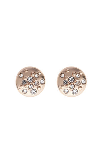 Crystal Sprinkle Stud Earrings - predominant colour: gold; occasions: evening; style: stud; length: short; size: small/fine; material: chain/metal; fastening: pierced; finish: metallic; season: s/s 2016; wardrobe: event