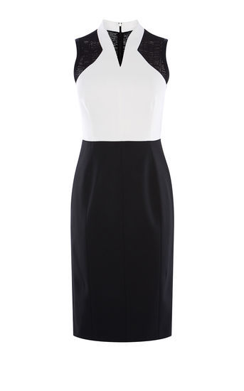 Broderie Panelled Pencil Dress - style: shift; neckline: v-neck; fit: tailored/fitted; pattern: plain; sleeve style: sleeveless; hip detail: draws attention to hips; secondary colour: white; predominant colour: black; occasions: evening; length: on the knee; fibres: viscose/rayon - stretch; sleeve length: sleeveless; pattern type: fabric; texture group: jersey - stretchy/drapey; multicoloured: multicoloured; season: s/s 2016; wardrobe: event
