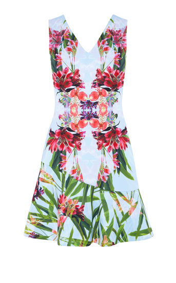 Floral Print Minidress - length: mid thigh; neckline: v-neck; sleeve style: sleeveless; hip detail: fitted at hip; secondary colour: hot pink; predominant colour: pale blue; occasions: evening; fit: fitted at waist & bust; style: fit & flare; fibres: polyester/polyamide - stretch; sleeve length: sleeveless; pattern type: fabric; pattern size: light/subtle; pattern: florals; texture group: jersey - stretchy/drapey; multicoloured: multicoloured; season: s/s 2016; wardrobe: event