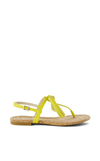 Tassel Flat Sandal - predominant colour: yellow; occasions: casual, holiday; material: leather; heel height: flat; embellishment: tassels; ankle detail: ankle strap; heel: standard; toe: toe thongs; style: standard; finish: plain; pattern: plain; season: s/s 2016; wardrobe: highlight