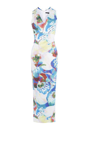 Orchid Print Maxi Dress - neckline: v-neck; sleeve style: sleeveless; style: maxi dress; length: ankle length; predominant colour: diva blue; secondary colour: pale blue; occasions: evening; fit: body skimming; fibres: viscose/rayon - stretch; sleeve length: sleeveless; texture group: jersey - clingy; pattern type: fabric; pattern size: big & busy; pattern: florals; multicoloured: multicoloured; season: s/s 2016; wardrobe: event