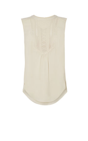 Lace Panelled Top - pattern: plain; sleeve style: sleeveless; length: below the bottom; predominant colour: ivory/cream; occasions: casual; style: top; fibres: polyester/polyamide - 100%; fit: body skimming; neckline: crew; sleeve length: sleeveless; texture group: sheer fabrics/chiffon/organza etc.; pattern type: fabric; embellishment: lace; season: s/s 2016; wardrobe: highlight