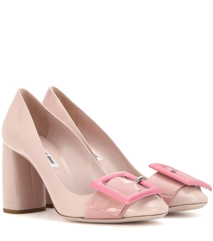 Patent Leather Pumps - secondary colour: pink; predominant colour: blush; occasions: occasion; material: leather; heel height: high; embellishment: buckles; heel: block; toe: square toe; style: courts; finish: plain; pattern: plain; season: s/s 2016; wardrobe: event