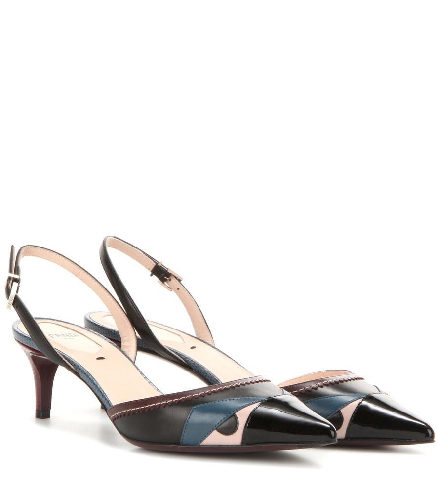 Leather Pumps - predominant colour: black; occasions: evening, occasion, creative work; material: leather; heel height: mid; heel: kitten; toe: pointed toe; style: slingbacks; finish: plain; pattern: colourblock; multicoloured: multicoloured; season: s/s 2016