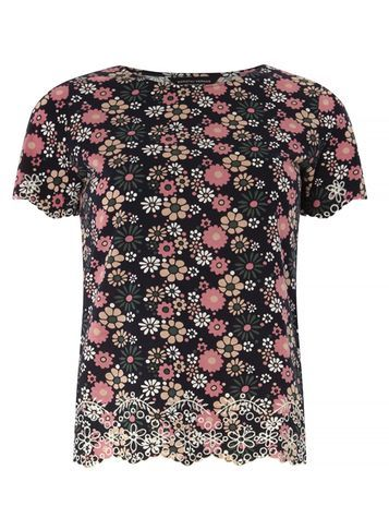 Womens Navy Daisy Embroidered Hem Tee Navy - style: t-shirt; secondary colour: pink; predominant colour: navy; occasions: casual; length: standard; fibres: cotton - 100%; fit: body skimming; neckline: crew; sleeve length: short sleeve; sleeve style: standard; pattern type: fabric; pattern: florals; texture group: woven light midweight; embellishment: lace; multicoloured: multicoloured; season: s/s 2016; wardrobe: highlight