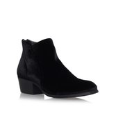 Apisi - predominant colour: black; material: suede; heel height: mid; heel: block; toe: round toe; boot length: ankle boot; style: standard; finish: plain; pattern: plain; occasions: creative work; season: s/s 2016; wardrobe: basic