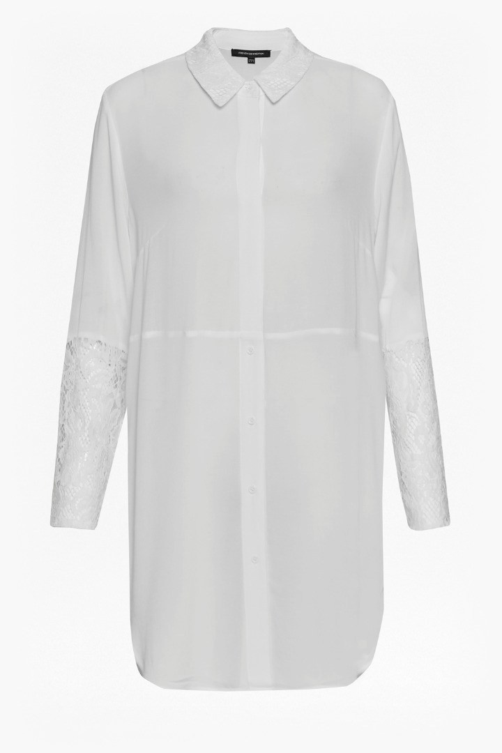 Taza Lace Longline Shirt Winter White - neckline: shirt collar/peter pan/zip with opening; pattern: plain; length: below the bottom; style: shirt; predominant colour: white; occasions: casual; fibres: viscose/rayon - 100%; fit: body skimming; sleeve length: long sleeve; sleeve style: standard; pattern type: fabric; texture group: other - light to midweight; season: s/s 2016; wardrobe: basic