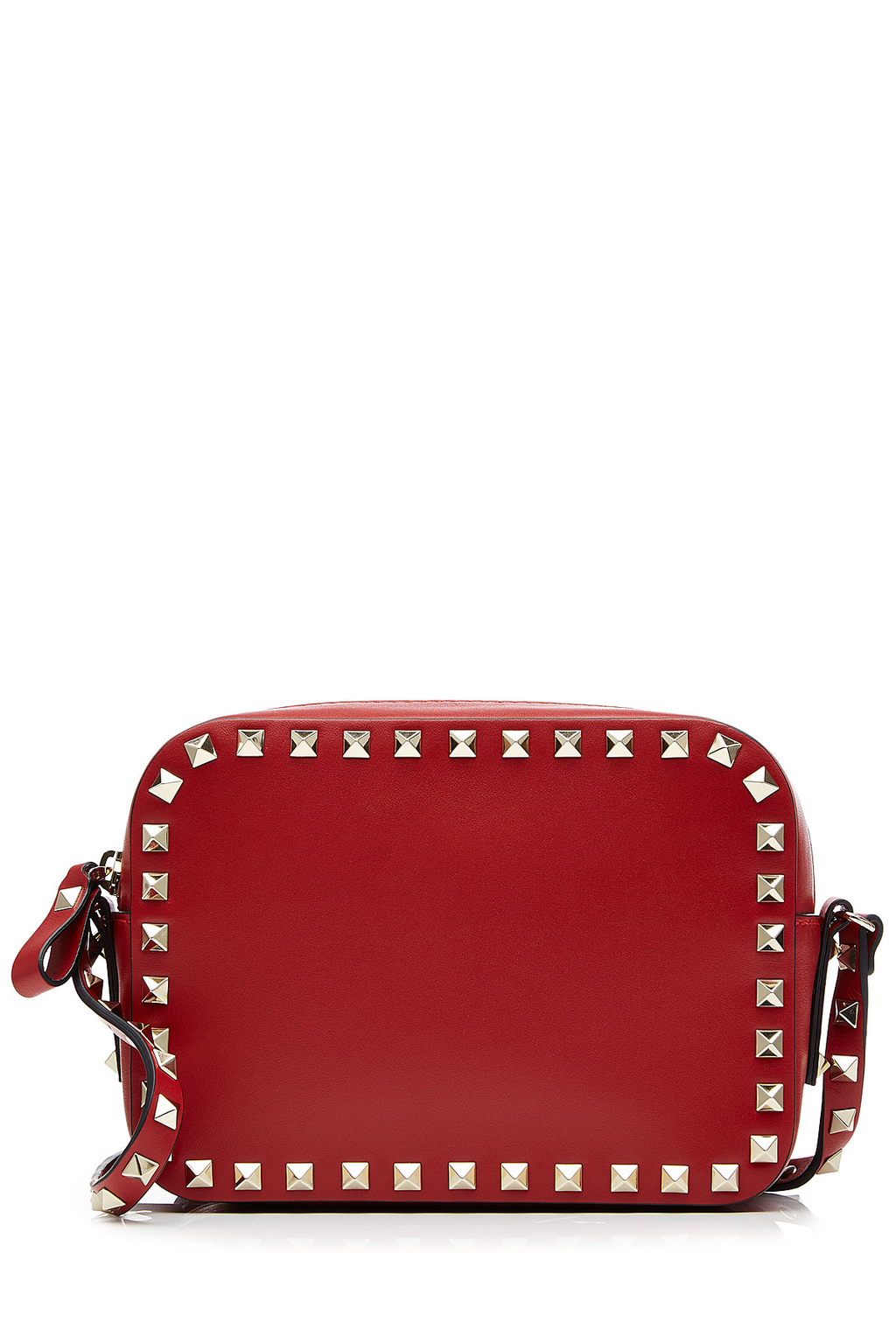Rockstud Leather Camera Bag Red - predominant colour: true red; secondary colour: gold; type of pattern: standard; style: messenger; length: across body/long; size: mini; material: leather; embellishment: studs; pattern: plain; finish: plain; occasions: creative work; season: s/s 2016