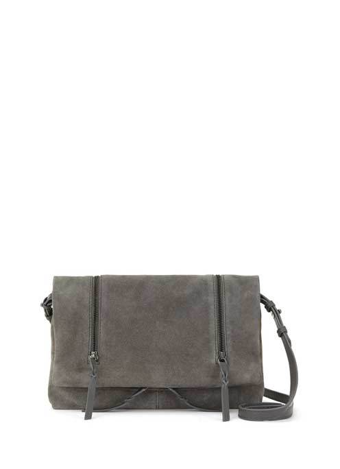 Grey Olivia Suede Cross Body - predominant colour: charcoal; occasions: casual; type of pattern: standard; style: messenger; length: across body/long; size: small; material: suede; pattern: plain; finish: plain; season: s/s 2016; wardrobe: basic