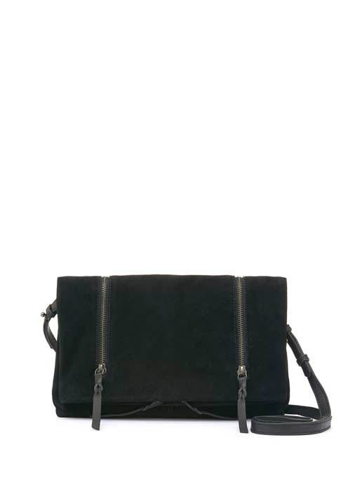 Black Olivia Suede Cross Body - predominant colour: black; occasions: casual; type of pattern: standard; style: messenger; length: across body/long; size: small; material: suede; pattern: plain; finish: plain; season: s/s 2016; wardrobe: basic