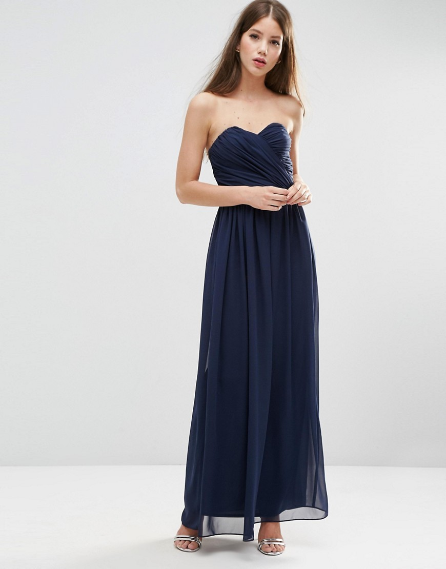 Wedding Bandeau Maxi Dress Navy - neckline: strapless (straight/sweetheart); pattern: plain; style: maxi dress; sleeve style: strapless; length: ankle length; predominant colour: navy; occasions: evening; fit: body skimming; fibres: polyester/polyamide - 100%; sleeve length: sleeveless; texture group: sheer fabrics/chiffon/organza etc.; pattern type: fabric; season: s/s 2016; wardrobe: event