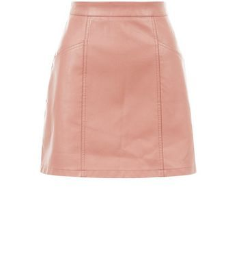 Shell Pink Leather Look Seam Trim Mini Skirt - length: mini; pattern: plain; fit: loose/voluminous; waist: high rise; predominant colour: pink; occasions: casual, creative work; style: a-line; texture group: leather; pattern type: fabric; fibres: pvc/polyurethene - 100%; season: s/s 2016; wardrobe: highlight