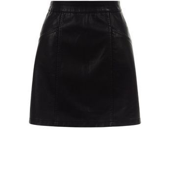 Black Leather Look Seam Trim Mini Skirt - length: mini; pattern: plain; fit: body skimming; waist: mid/regular rise; predominant colour: black; occasions: evening; style: mini skirt; texture group: leather; pattern type: fabric; fibres: pvc/polyurethene - stretch; season: s/s 2016; wardrobe: event