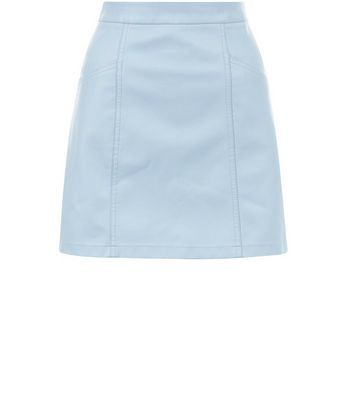 Pale Blue Leather Look Seam Trim Mini Skirt - length: mini; pattern: plain; fit: loose/voluminous; waist: high rise; predominant colour: pale blue; occasions: casual, creative work; style: a-line; texture group: leather; pattern type: fabric; fibres: pvc/polyurethene - 100%; season: s/s 2016; wardrobe: highlight