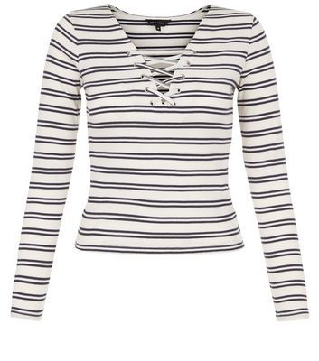 White Stripe Lace Up Long Sleeve Top - neckline: v-neck; pattern: horizontal stripes; predominant colour: white; secondary colour: black; occasions: casual; length: standard; style: top; fibres: cotton - 100%; fit: body skimming; sleeve length: long sleeve; sleeve style: standard; pattern type: fabric; pattern size: standard; texture group: jersey - stretchy/drapey; multicoloured: multicoloured; season: s/s 2016; wardrobe: basic