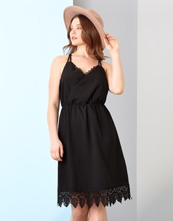 Lace Cami Dress - neckline: v-neck; pattern: plain; sleeve style: sleeveless; style: sundress; predominant colour: black; occasions: casual; length: on the knee; fit: body skimming; fibres: polyester/polyamide - 100%; sleeve length: sleeveless; pattern type: fabric; texture group: other - light to midweight; embellishment: lace; season: s/s 2016