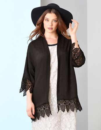 Lace Trim Kimono - pattern: plain; collar: round collar/collarless; fit: loose; predominant colour: black; occasions: evening; length: standard; fibres: polyester/polyamide - 100%; sleeve length: 3/4 length; sleeve style: standard; texture group: crepes; collar break: low/open; pattern type: fabric; embellishment: lace; style: fluid/kimono; season: s/s 2016; wardrobe: event